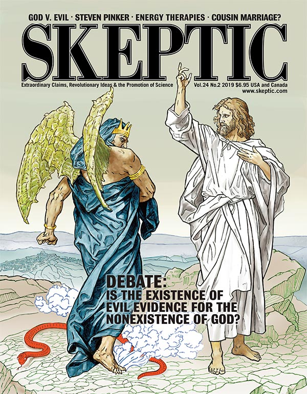 Skeptic magazine, vol 24, no 2 (cover). Satan Rebuked by Jesus. Illustration by Pat Linse after a drawing by German painter Johann Michael Ferdinand Heinrich Hofmann (1824-1911). Many of the iconic images of the life of Christ still popular today are based on Hofmann's work.