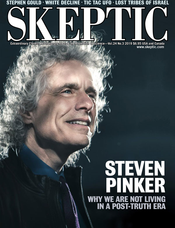 Steven Pinker on the cover of Skeptic magazine, vol 24, no 3 (photo by Jeremy Danger at www.jeremydanger.com)