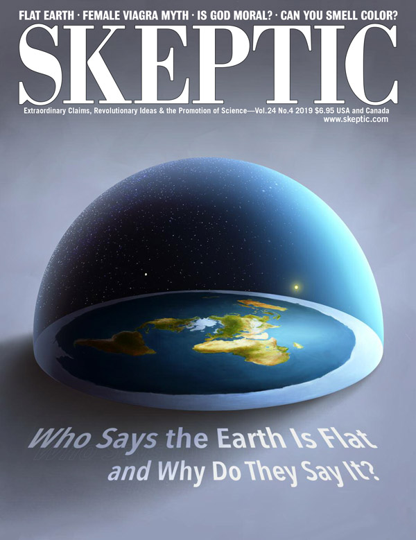 Steven Pinker on the cover of Skeptic magazine, vol 24, no 4 (On the cover: a Flat Earth model by Ástor Alexander)